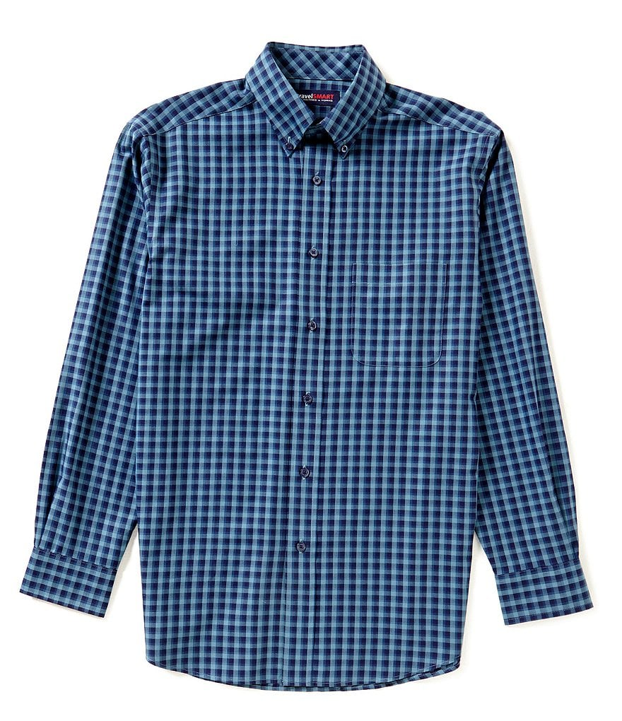 Roundtree & Yorke TravelSMART Long Sleeve Checked Woven Sportshirt