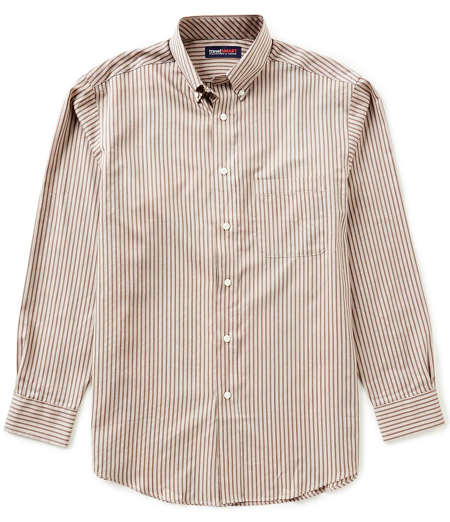 Roundtree & Yorke TravelSMART Long Sleeve Striped Woven Sportshirt