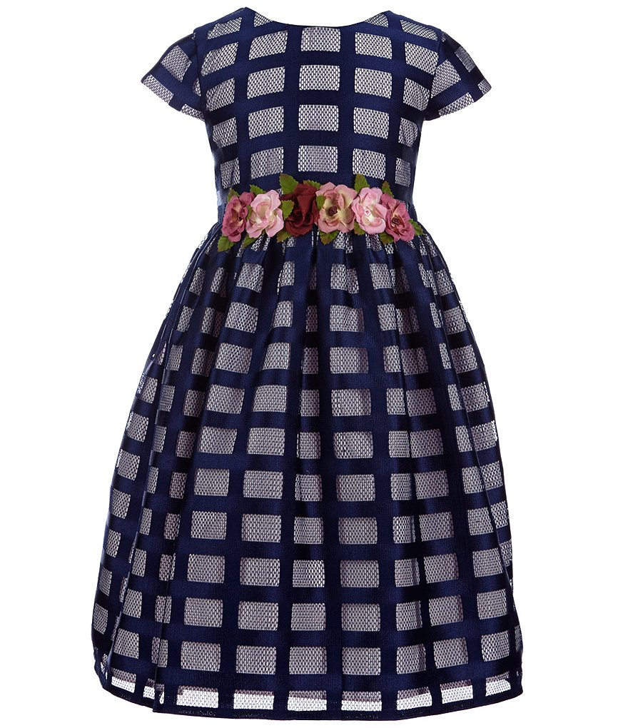 Marmellata Little Girls 2T-6X Windowpane-Pattern Floral Appliqué A-line Dress