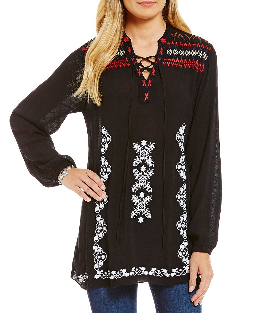 Chelsea & Theodore Embroidered Lace Up Tunic