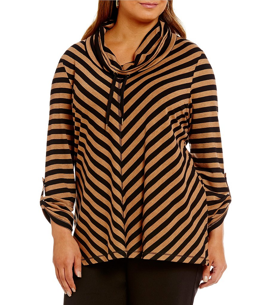 Ruby Rd. Plus Cowl Neck Silky French Terry Pull Over