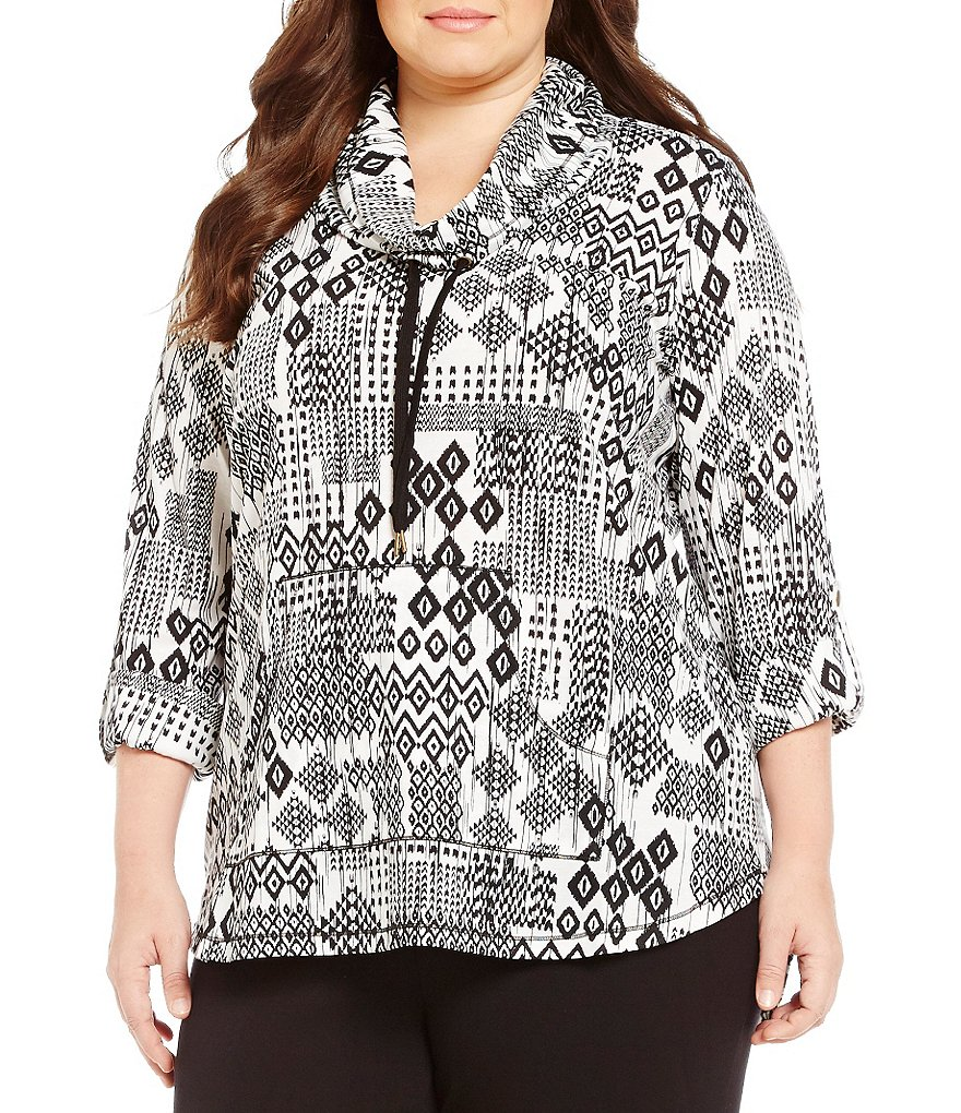 Ruby Rd. Plus CowlNeck Diamond Stroke Patchwork Print Pullover