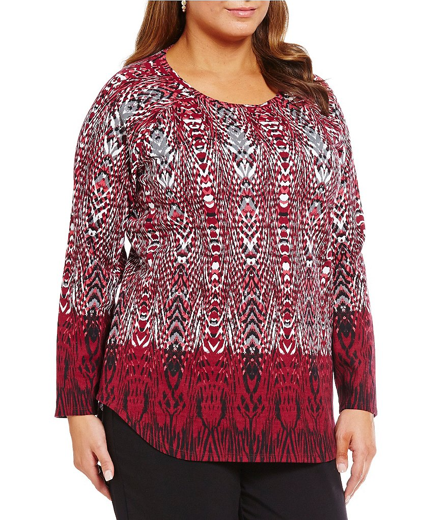 Ruby Rd. Plus Embellished Ballet Neck Border Print Thermal Jersey Top