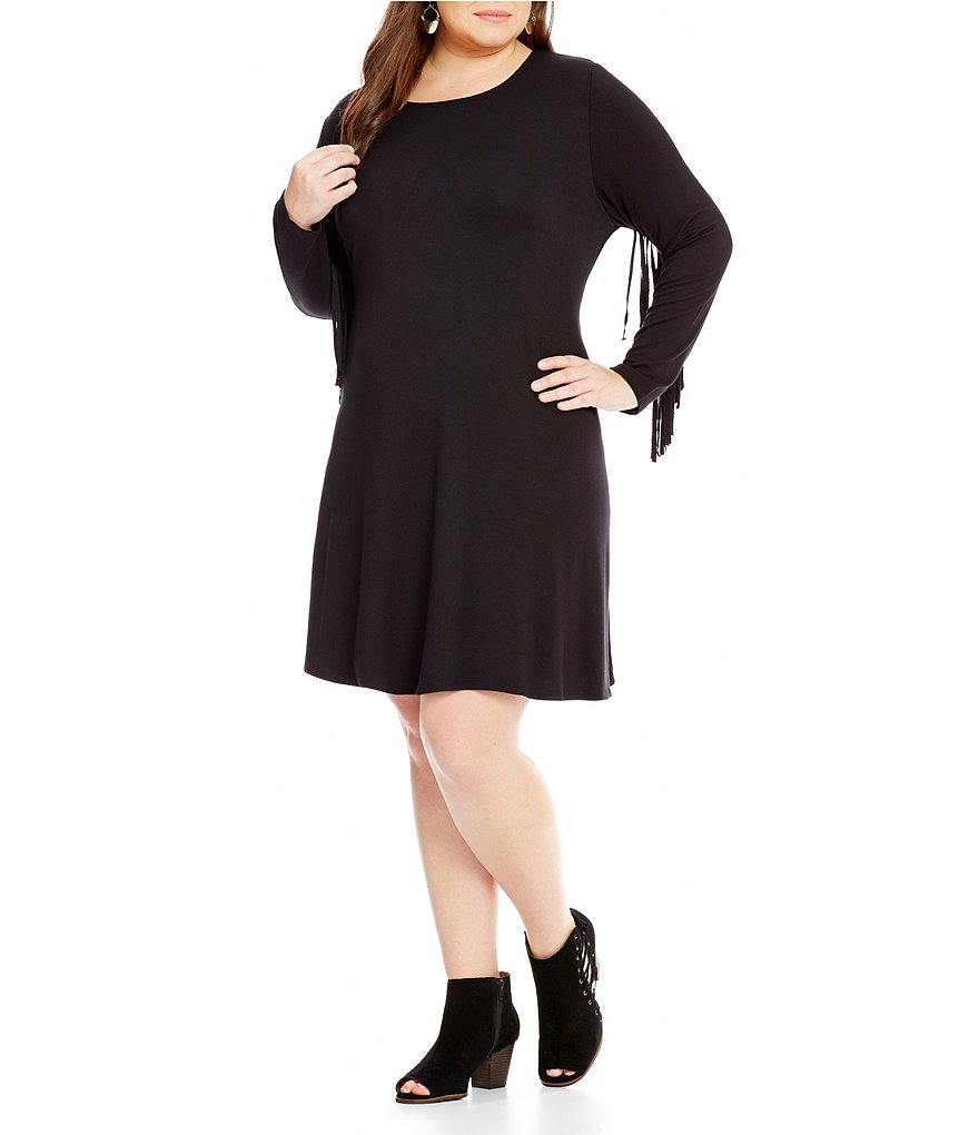 Ruby Rd. Plus Fringe Long Sleeve Knit Fit-and-Flare Dress