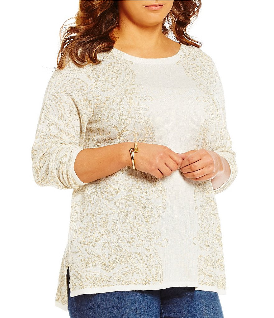 Ruby Rd. Plus Boat-Neck Metallic Paisley Jacquard Tunic Pullover Sweater