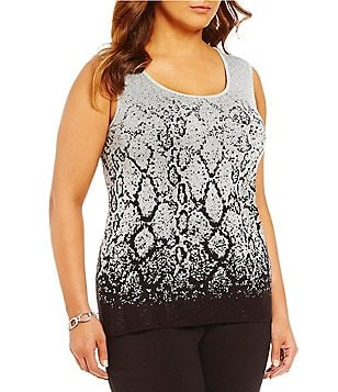 Ruby Rd. Plus Scoop-Neck Ombre Snake Jacquard Shell