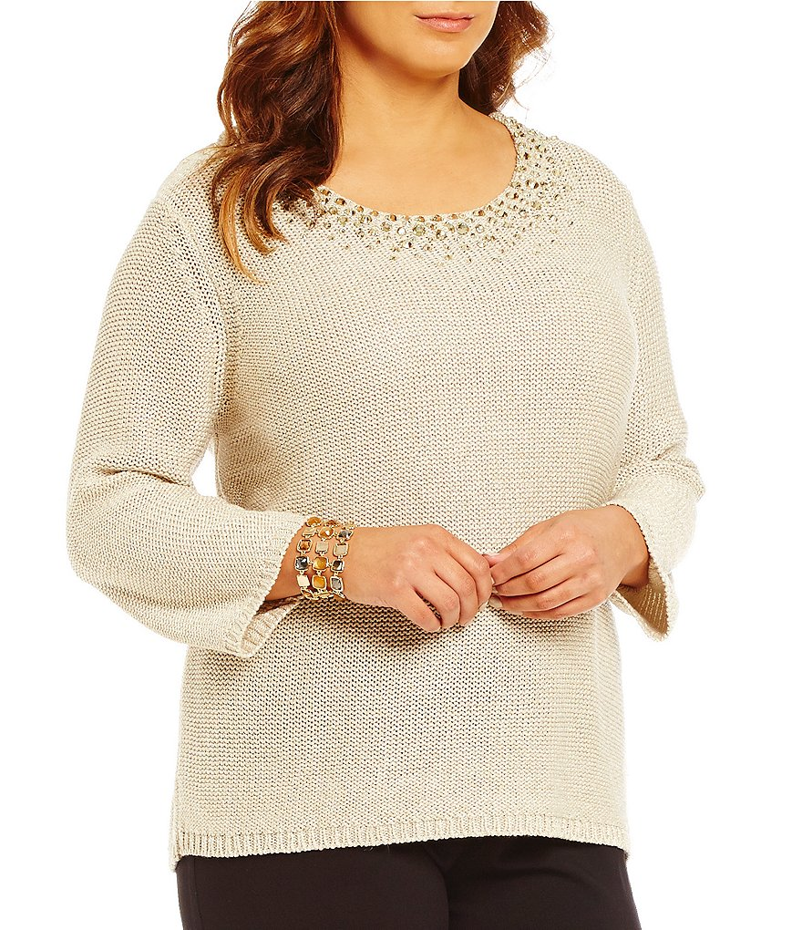 Ruby Rd. Plus Embellished Scoop Neck Metallic-Tape Sweater