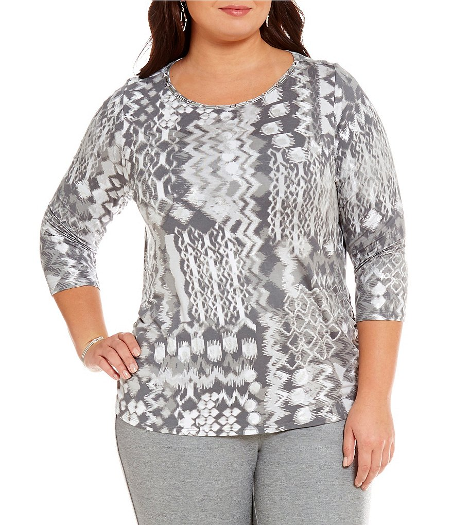 Ruby Rd. Plus Cowl-Neck Embellished Patch Yoke Printed Knit Top