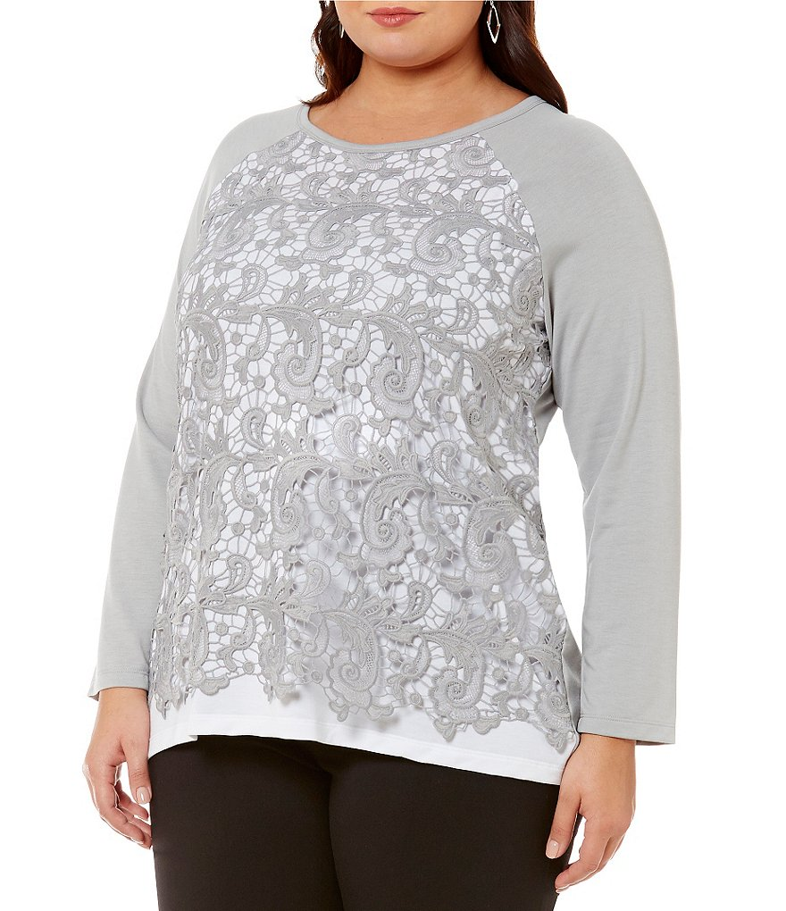 Ruby Rd. Plus Jewel-Neck Crochet Lace Overlay Silky French Terry Top