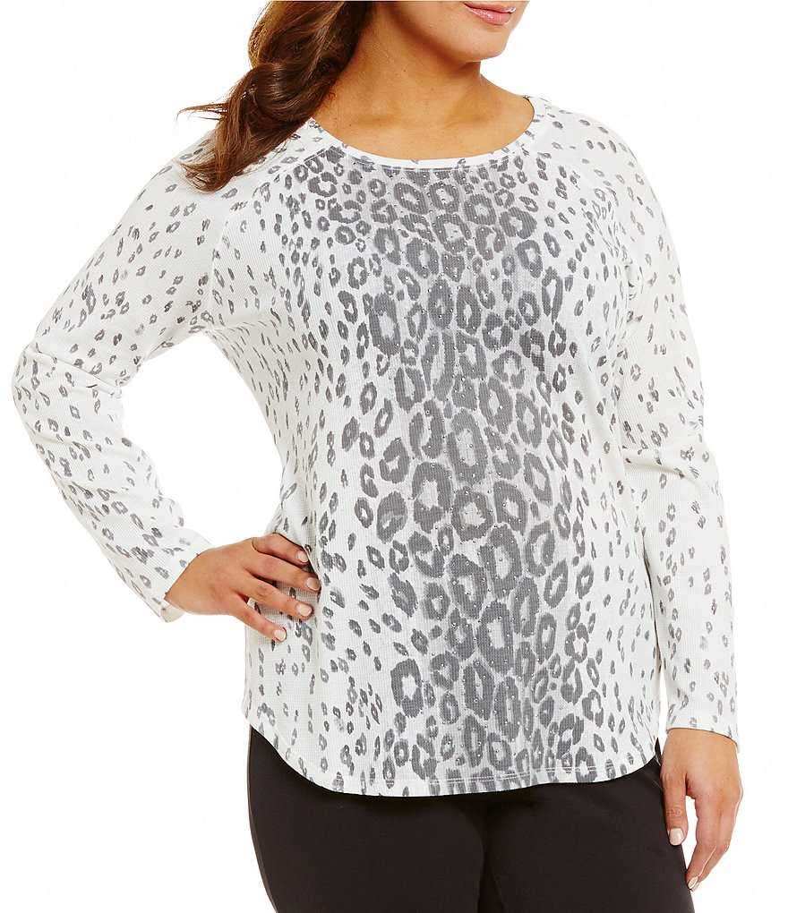 Ruby Rd. Plus Embellished Ballet-Neck Printed Thermal Jersey Top
