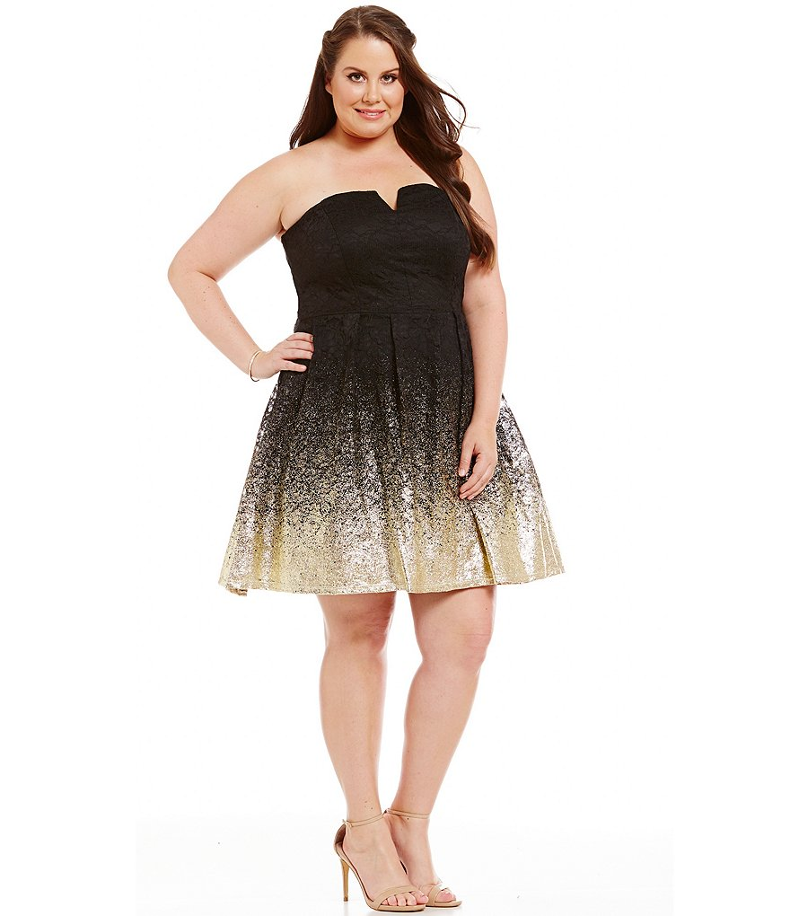 B. Darlin Plus Strapless Metallic Foil-Dipped Lace Fit-and-Flare Dress