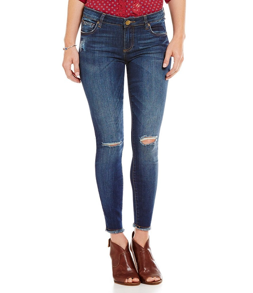 KUT from the Kloth Ankle Skinny Jeans with Raw Hem