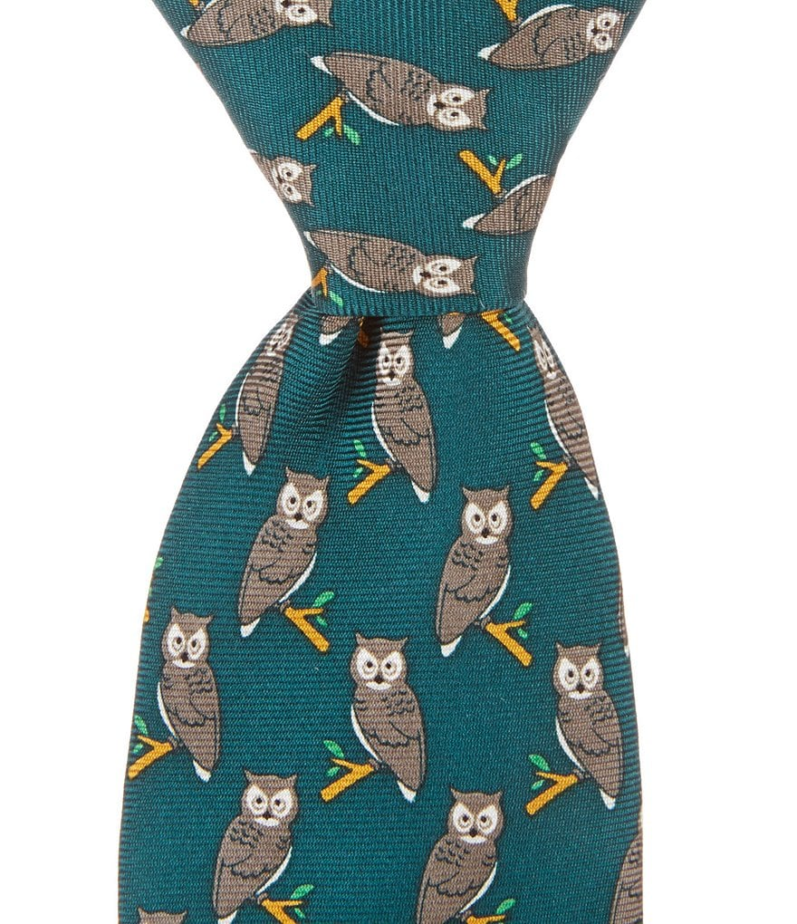 Class Club Owl Silk Zipper Tie