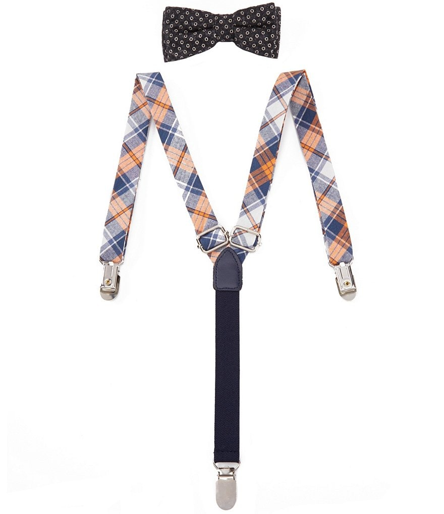 Class Club Chambray Plaid Suspender & Bow Tie Set