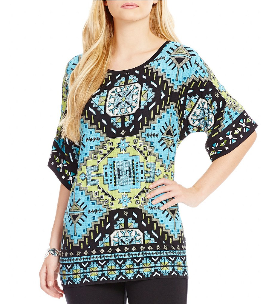Ruby Rd. Petite Escalante Placement Print Kimono Sleeve Knit Top