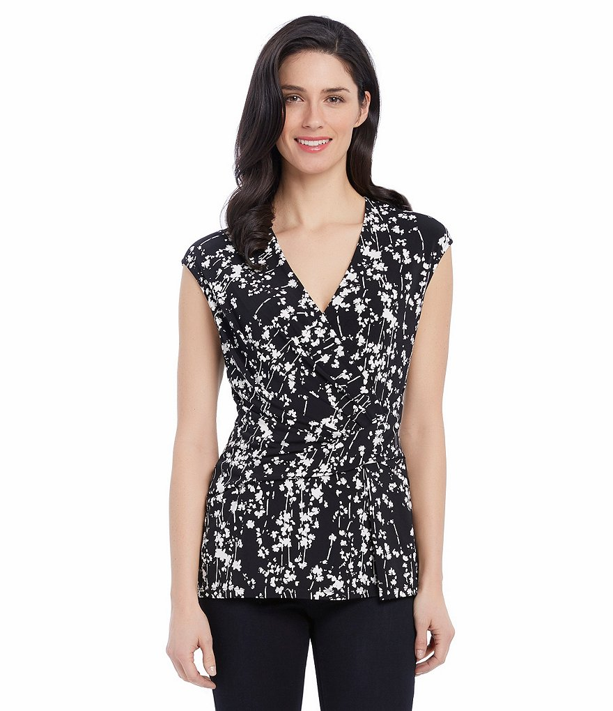 Ellen Tracy Knit Jersey Faux-Twist Wrap Cap Sleeve Top