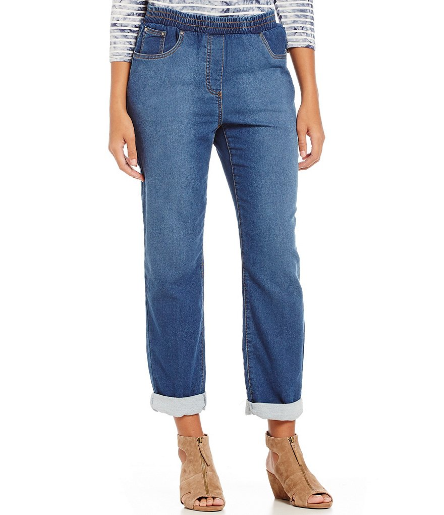Ruby Rd. Petite Pull-On Denim Woven French Terry Pant