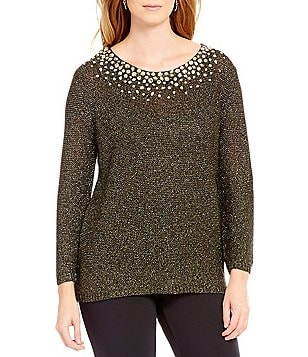 Ruby Rd. Petite Embellished Scoop Neck Metallic Tape Pull-Over Sweater