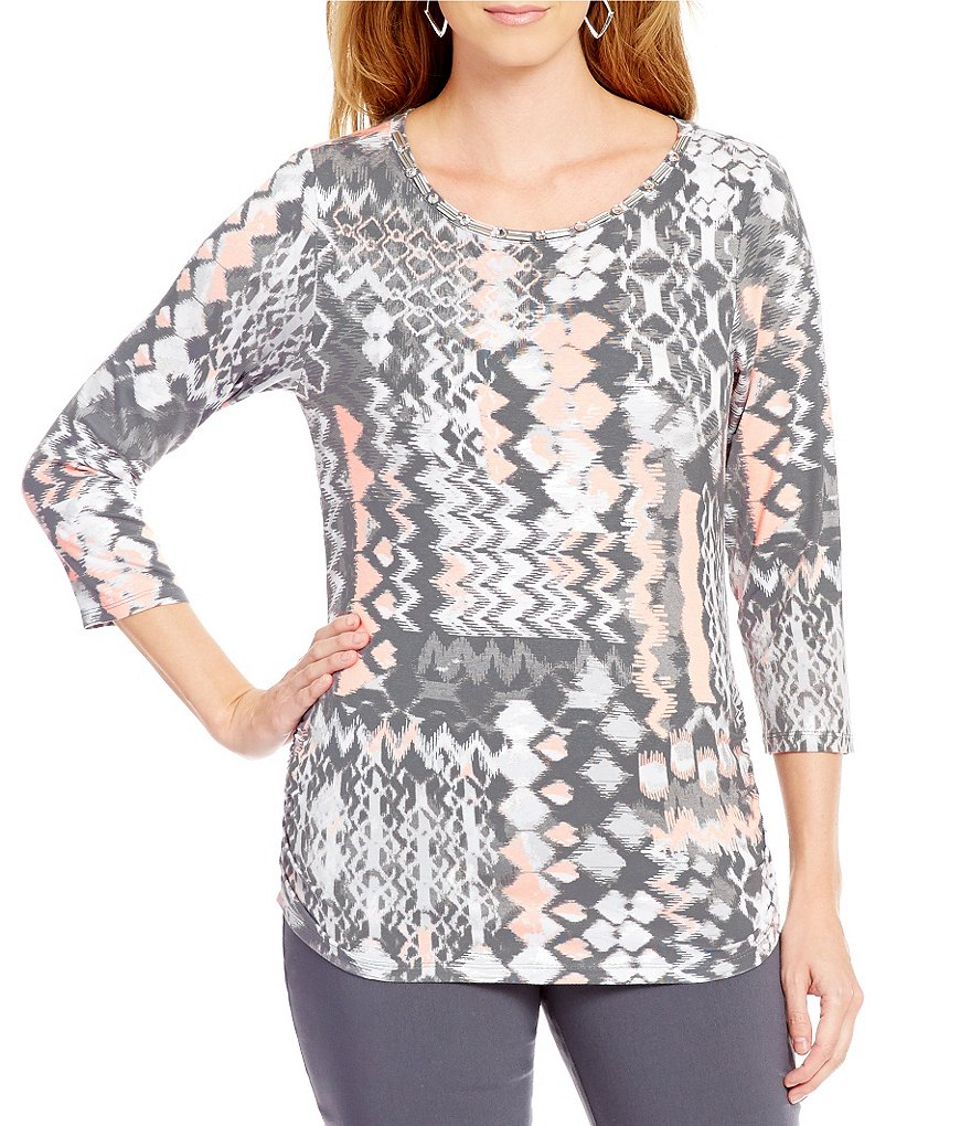 Ruby Rd. Petite Embellished Ballet-Neck Static Patchwork Print Knit Top