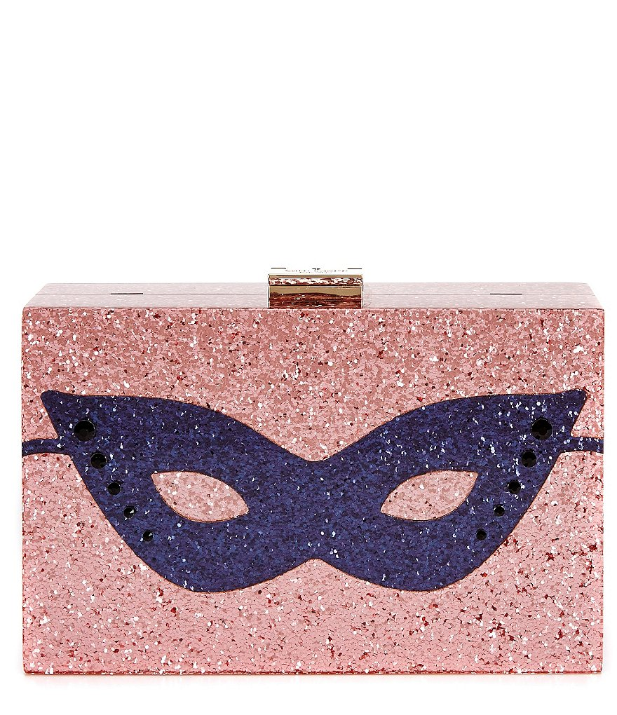 kate spade new york Dress the Part Collection Glitter Mask Clutch