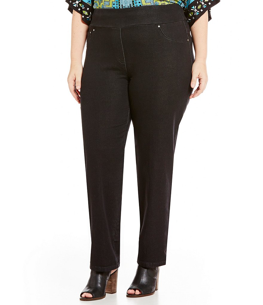 Ruby Rd. Plus Pull-On Black Denim French Terry Roll-Cuff Pants