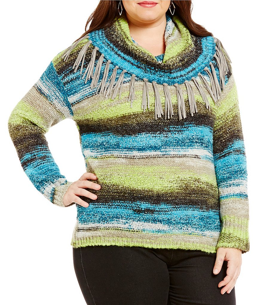 Ruby Rd. Plus Fringe Cowl-Neck Brushed Space-Dye Boucle Pullover