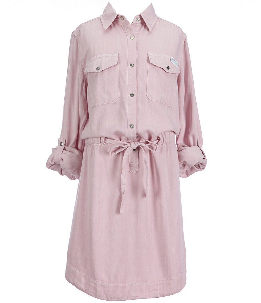 7 for All Mankind Big Girls 7-14 Roll-Tab Twill Shirtdress
