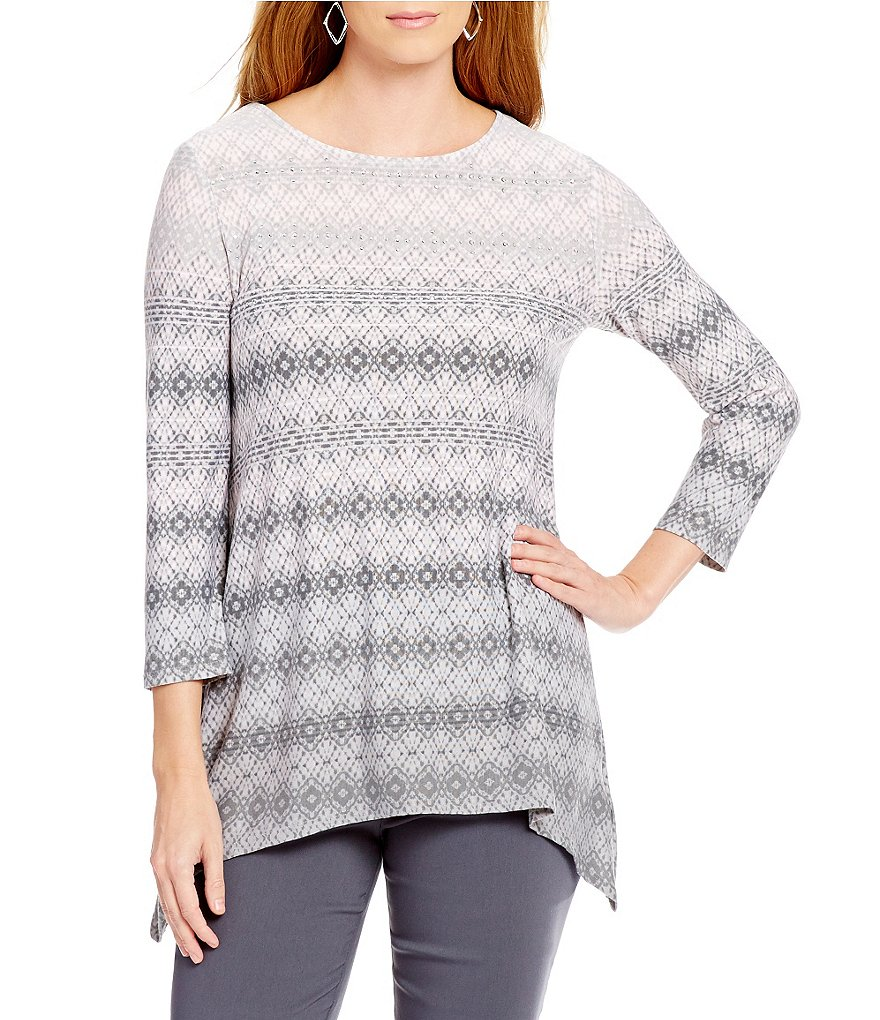 Ruby Rd. Petite Embellished Diamond Ombre Border Print Knit Top