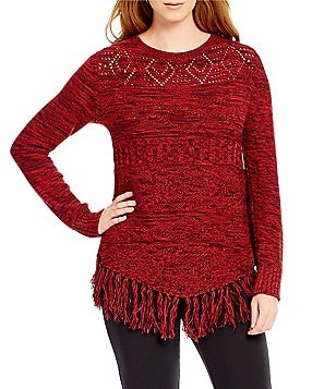 Ruby Rd. Petite Boat-Neck Marled Tribal Stitch Pull-Over Sweater