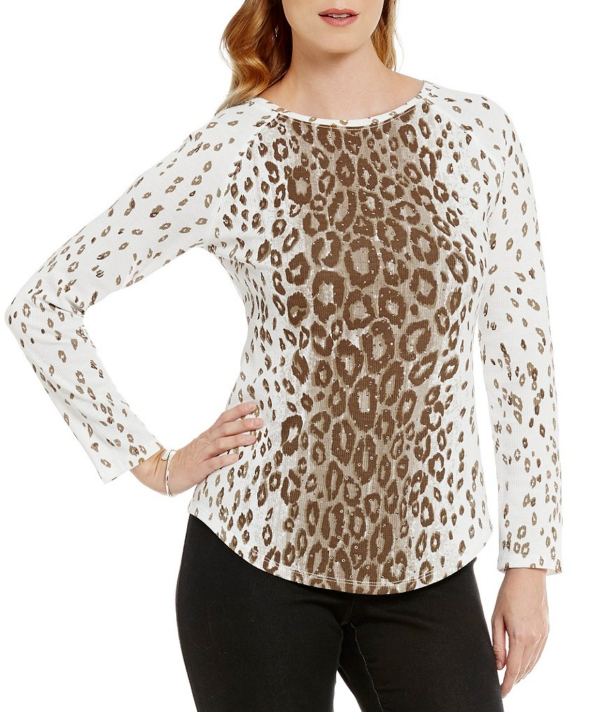 Ruby Rd. Petite Embellished Ballet-Neck Printed Thermal Jersey Top