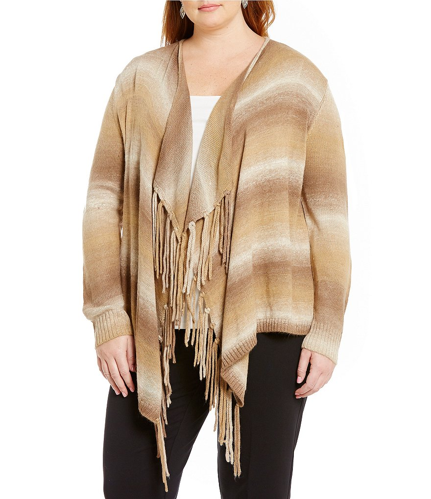 Ruby Rd. Plus Open Front Ombre Fringe Cardigan
