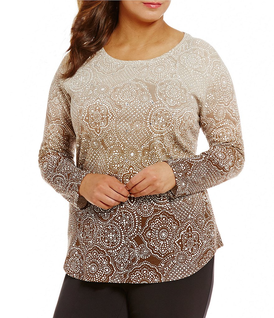 Ruby Rd. Plus Embellished Ballet Neck Printed Thermal Jersey Top