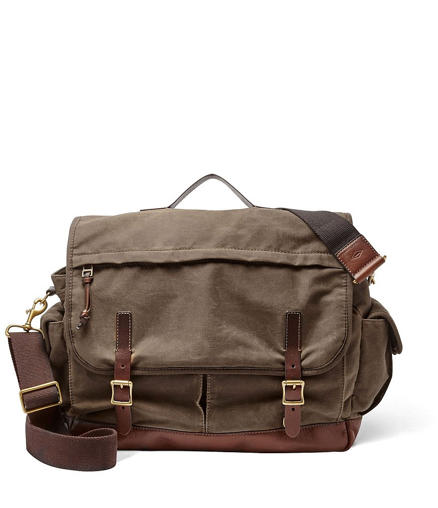 Fossil Defender Canvas Top Handle Messenger with Laptop Sleeve