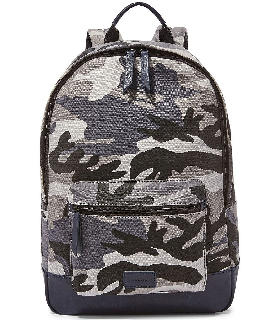Fossil Estate Camo Print Canvas Laptop Backpack