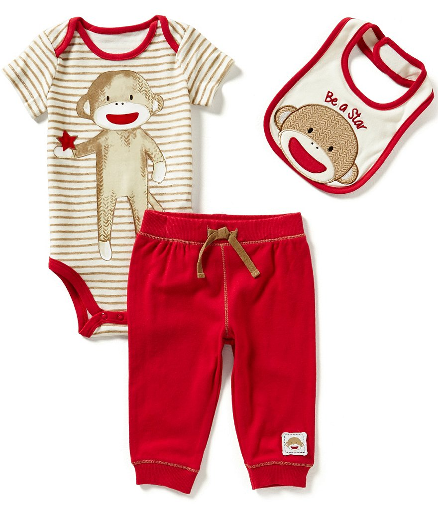 Baby Starters Baby Boys 3-12 Months Striped Sock Monkey Bodysuit, Solid Pants, & Sock Monkey Bib Set