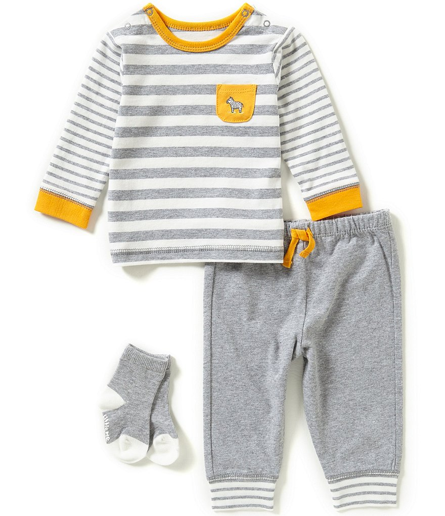 Little Me Baby Boys 3-12 Months 3-Piece Zebra Jogger Set