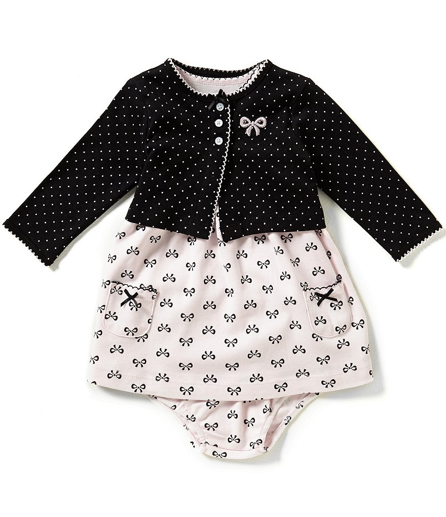Little Me Baby Girls 3-12 Months Bow-Printed Dress and Dotted Cardigan Set