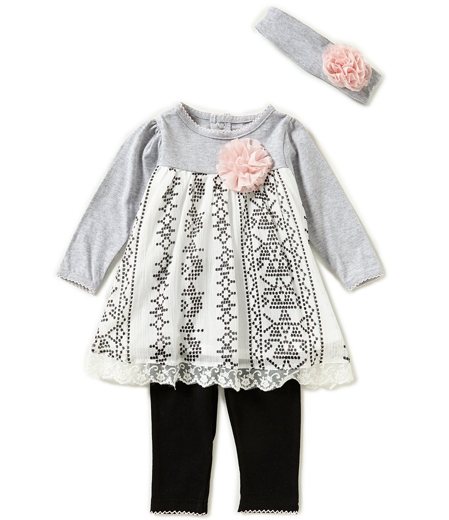 Wendy Bellissimo Baby Girls 3-24 Months Patterned-Lace Dress, Solid Leggings and Headband Set