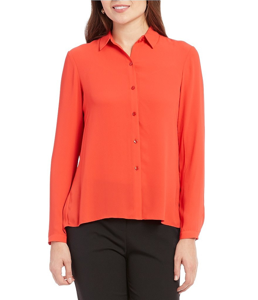 Jones New York Accordion Pleated Back Long Sleeve Blouse