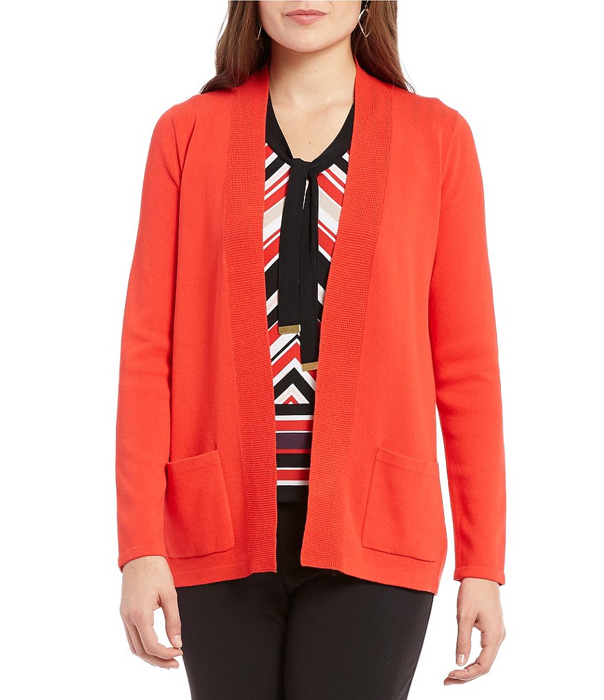 Jones New York Mix Stitch Open Front Cardigan