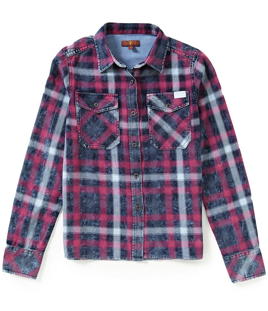 7 for All Mankind Big Girls 7-16 Button-Up Boyfriend Plaid Shirt