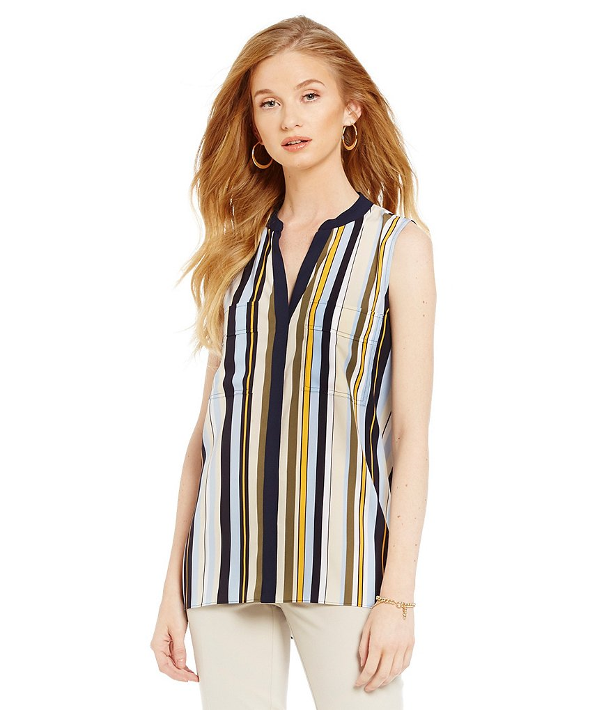 Jones New York Vintage Stripe Printed Crepe De Chine Split Neck Sleeveless Top