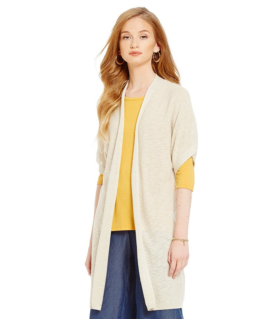 Jones New York Elbow Sleeve Open Front Long Cardigan
