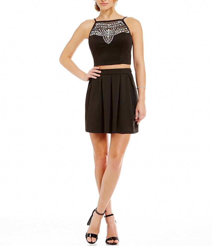 B. Darlin Jeweled Illusion Yoke Two-Piece Dress