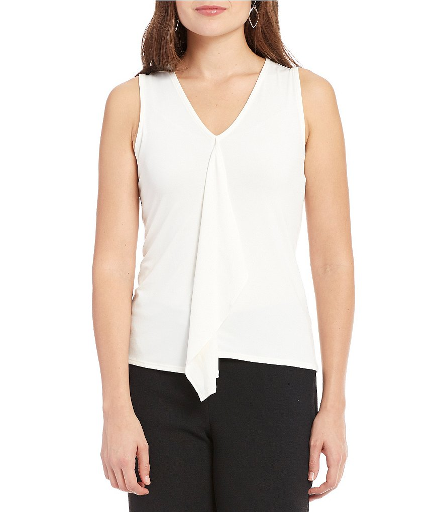 Jones New York Ruffle Front Matte Jersey Top