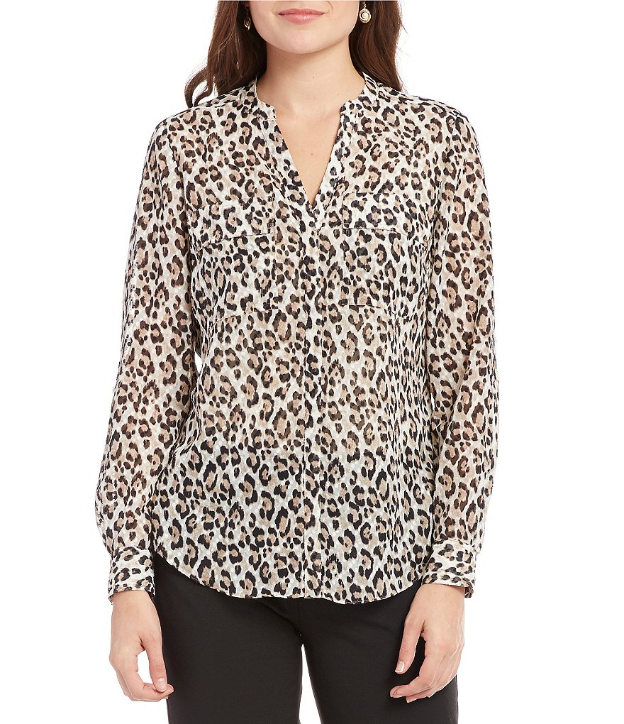 Jones New York Leopard Print Long Roll Tab Sleeve Shirt