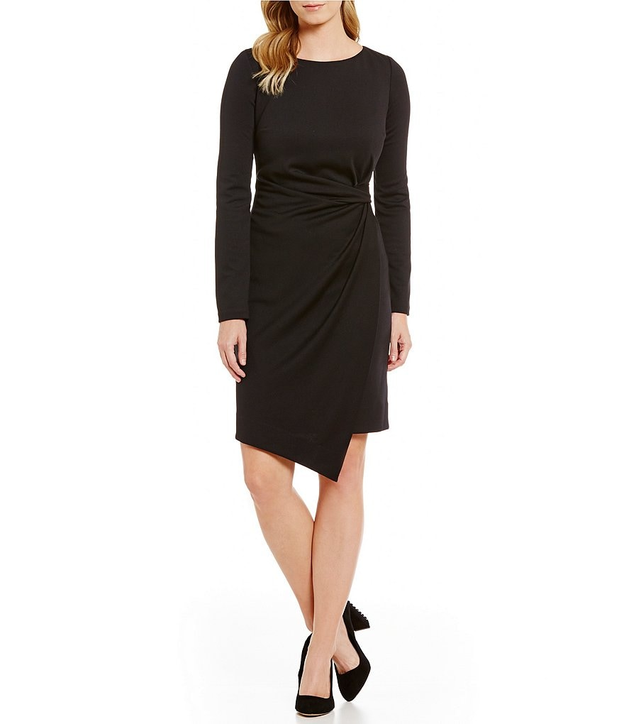 Jones New York Long Sleeve Side-Tucked Ponte Sheath Dress