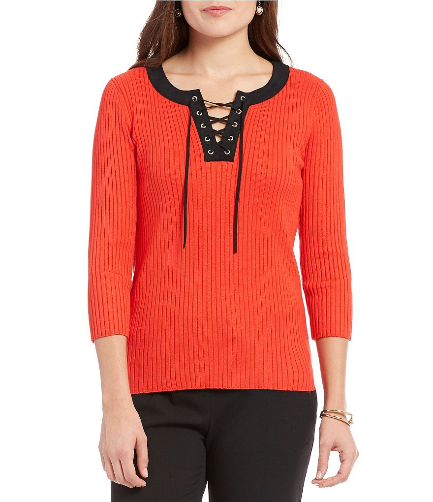 Jones New York Contrast Lace-Up Ribbed Fine Gauge Knit Top