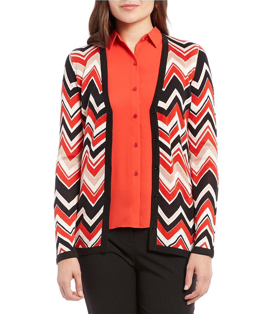 Jones New York Geometric Zigzag Fine Gauge Knit Cardigan