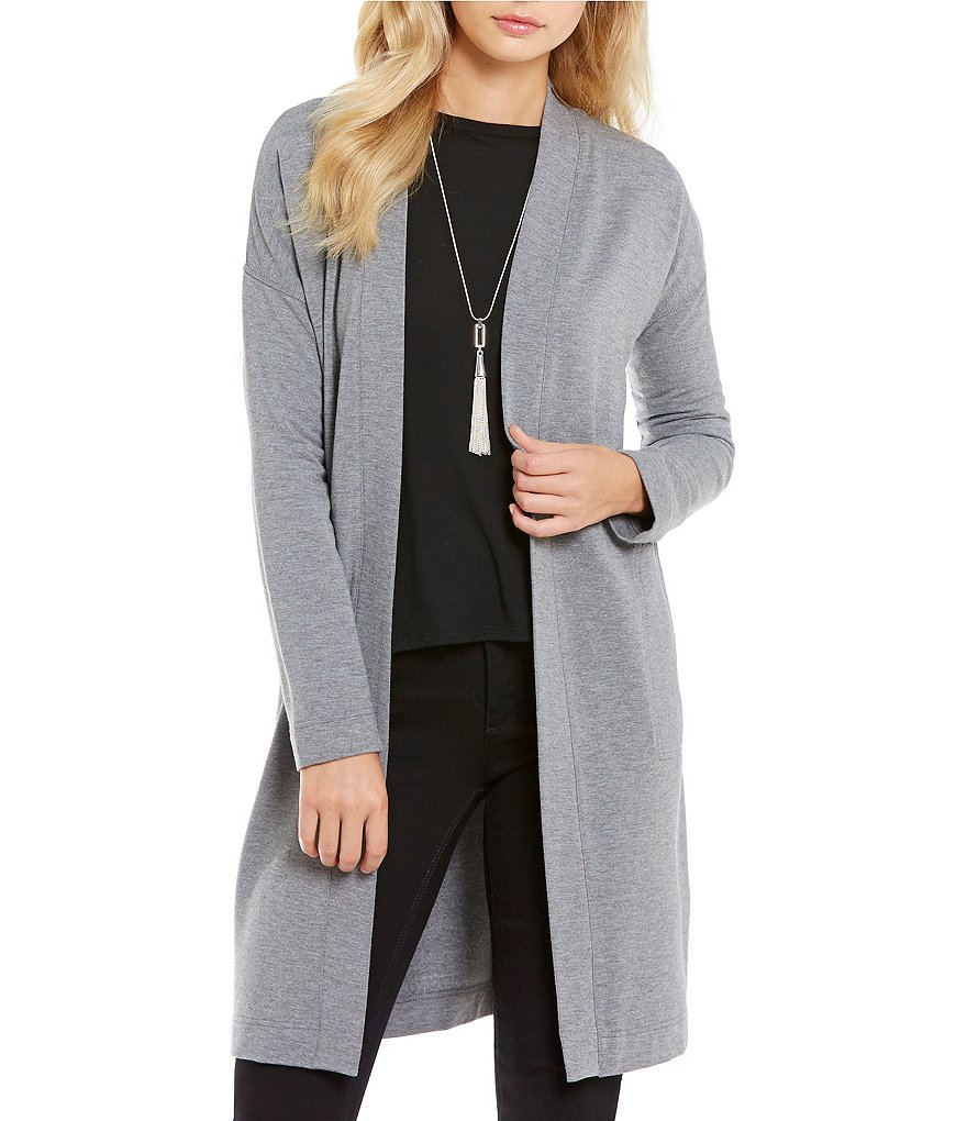 Jones New York Brushed Knit Open Front Maxi Jacket